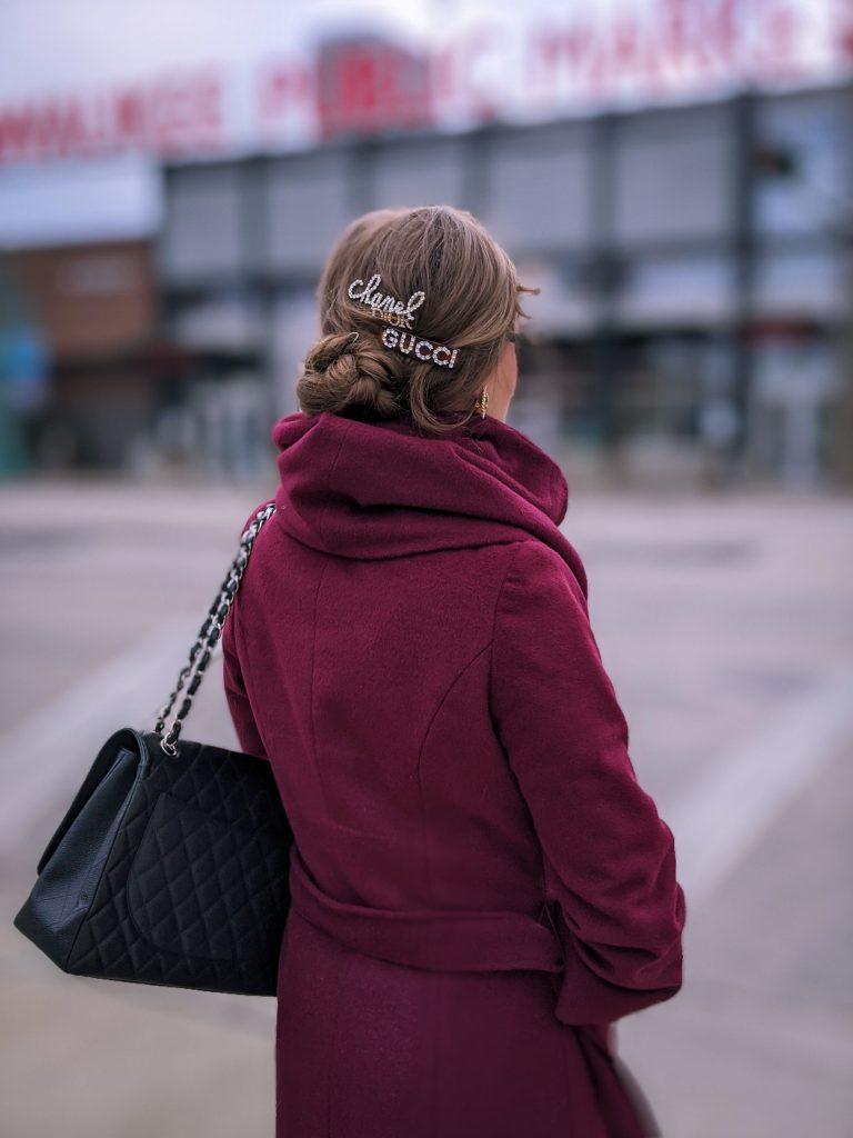 Marla wrap coat; chanel hair clip; gucci hair clip
