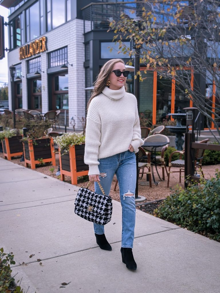 Jeans Under $100 Fall outfit OOTD Chanel 19 Tweed