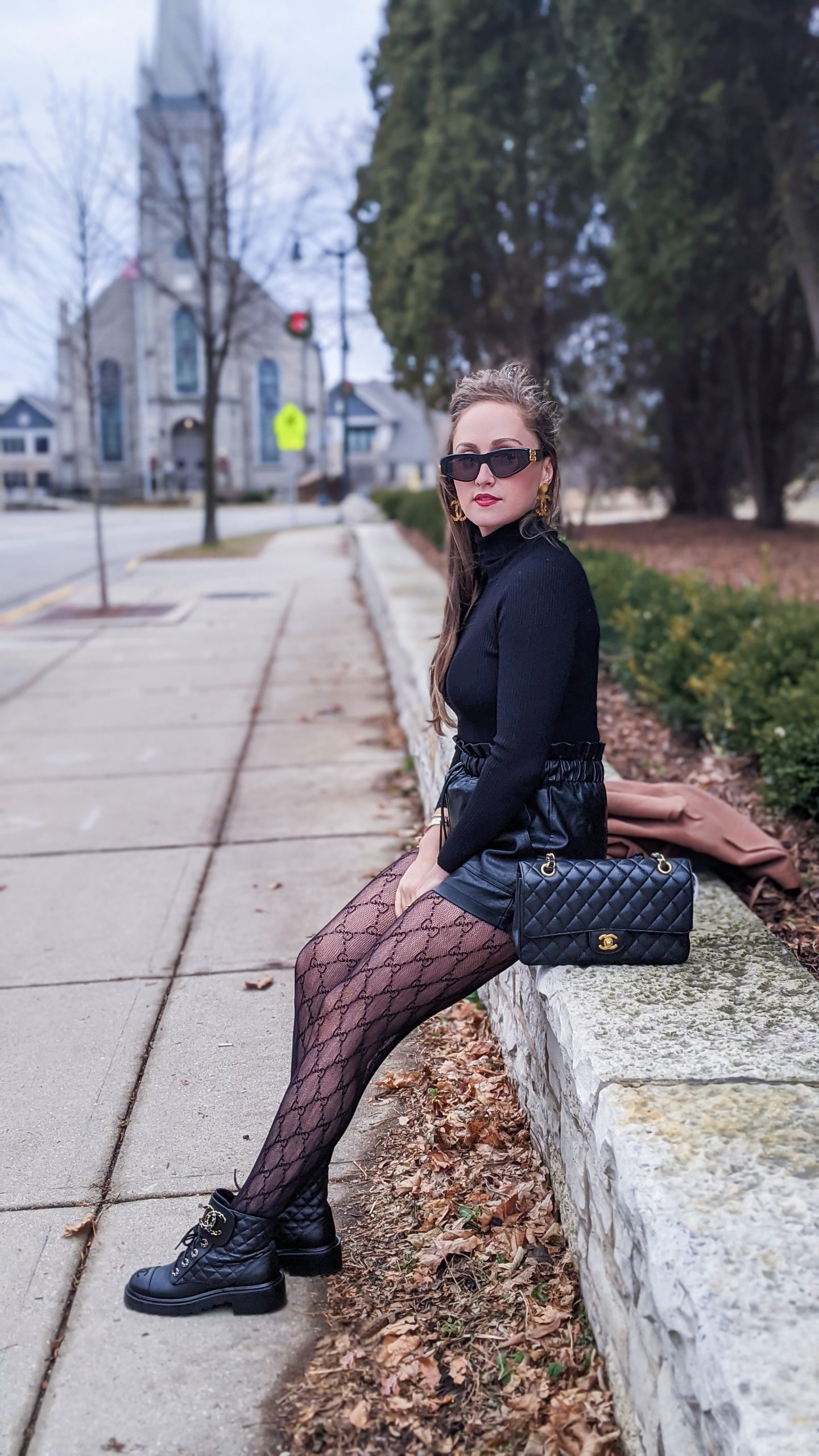 gucci tights outfit, chanel combat boots