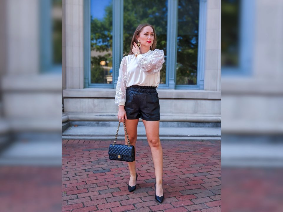 Faux Leather Shorts Fall OOTD: Amazon Find